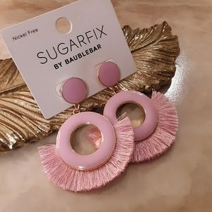 Baby Pink Tassel Enamel Earrings